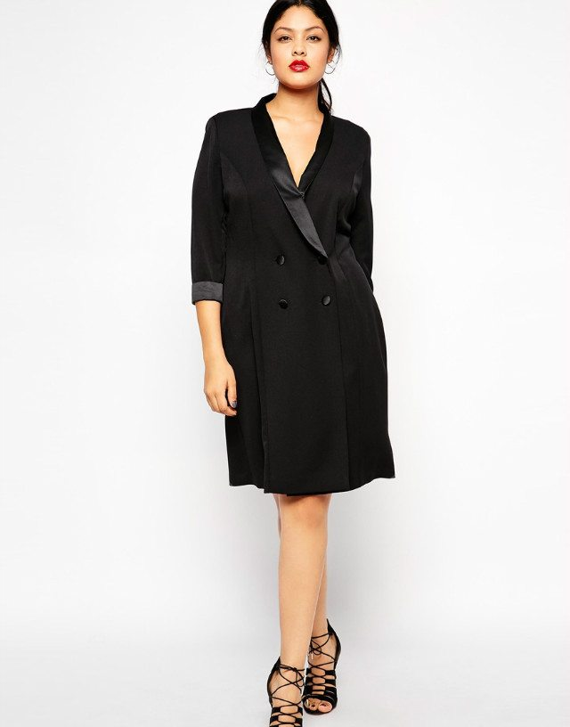 Plus size tuxedo jacket dress