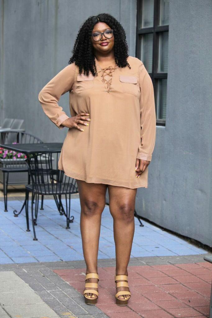 70s plus size lace up dress