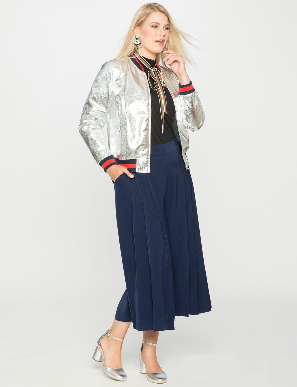 Gucci Crackle Leather Bomber Jacket - Eloquii Sporty Metallic Bomber Jacket