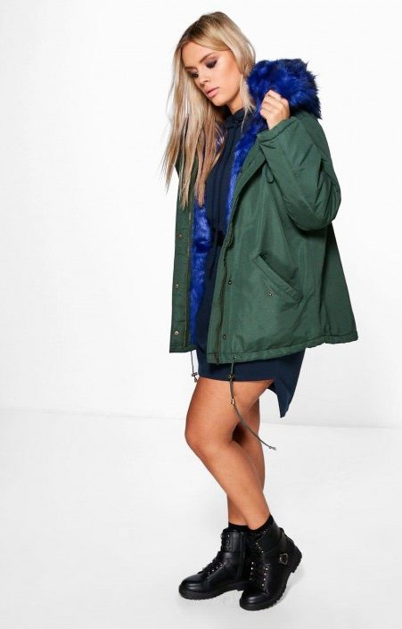 fabolous blue fur army coat