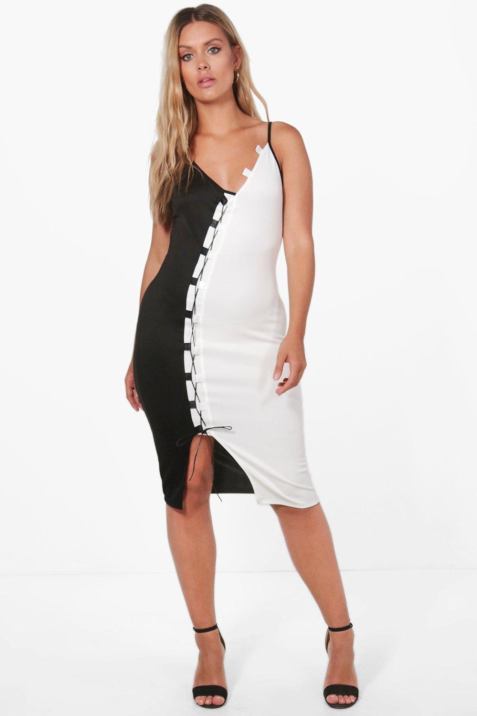 Boohoo Plus Jessica Contrast Lace Up Midi Dress
