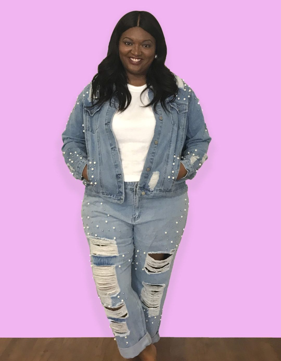 plus size Pearl Embellished Jeans